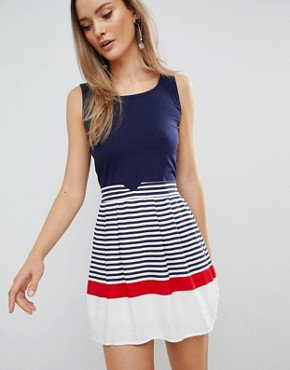photo Skater Dress with Striped Skirt by Zibi London, color Multi - Image 1