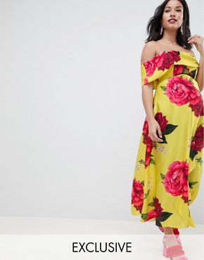 photo Maternity Bandeau Dress with Dipped Hem in Floral Print by ASOS DESIGN, color Multi - Image 1