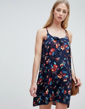 photo Primrose Print Cami Dress by Brave Soul, color Navy - Image 1