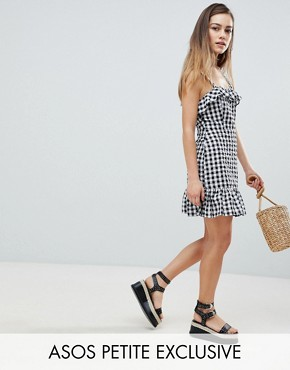 photo Gingham Mini Dress by ASOS DESIGN Petite, color Multi - Image 1