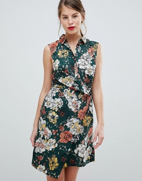 photo Floral Sleeveless Wrap Dress by Vila, color Pine Grove - Image 1