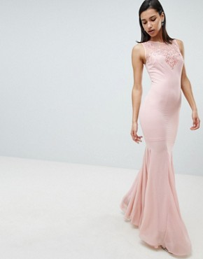 photo Embellihsed Chiffon Maxi Dress by City Goddess, color Pink - Image 1