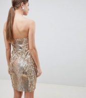 photo Sweetheart Neckline Sequin Embroidered Mini Dress by City Goddess, color Gold - Image 2