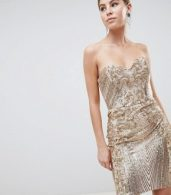 photo Sweetheart Neckline Sequin Embroidered Mini Dress by City Goddess, color Gold - Image 1
