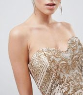 photo Sweetheart Neckline Sequin Embroidered Mini Dress by City Goddess, color Gold - Image 3