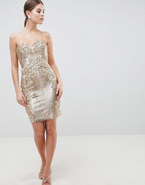 photo Sweetheart Neckline Sequin Embroidered Mini Dress by City Goddess, color Gold - Image 4