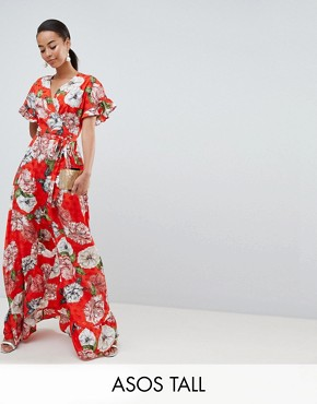 photo Ruffle Wrap Maxi Dress in Floral Jacquard by ASOS DESIGN Tall, color Multi - Image 1