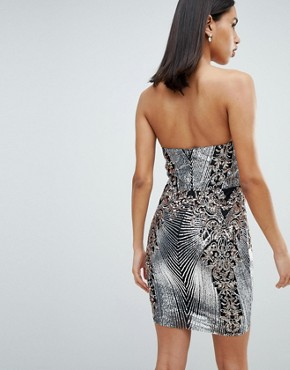 photo Sweetheart Neckline Sequin Embroidered Mini Dress by City Goddess, color Silver - Image 2