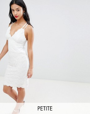 photo Scalloped Edge Lace Midi Dress by City Goddess Petite, color White - Image 1