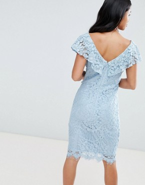 photo Lace Pencil Dress with Frill Overlay by City Goddess Petite, color  - Image 2