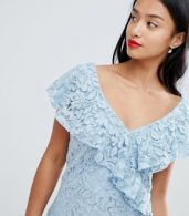 photo Lace Pencil Dress with Frill Overlay by City Goddess Petite, color  - Image 3