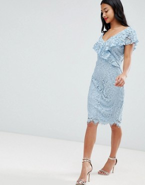 photo Lace Pencil Dress with Frill Overlay by City Goddess Petite, color  - Image 4