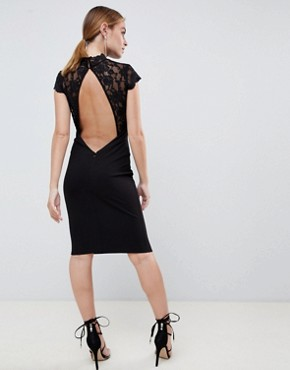 photo Open Back Midi Dress with Lace Insert by City Goddess Petite, color Black - Image 2