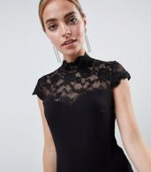 photo Open Back Midi Dress with Lace Insert by City Goddess Petite, color Black - Image 3