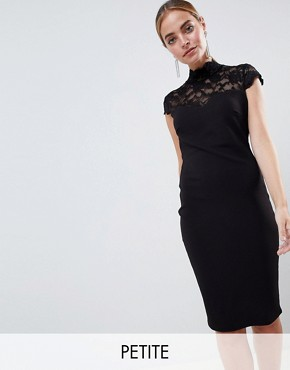 photo Open Back Midi Dress with Lace Insert by City Goddess Petite, color Black - Image 1