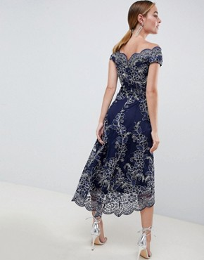 photo Lace Bardot Midi Dress by City Goddess Petite, color Navy - Image 2