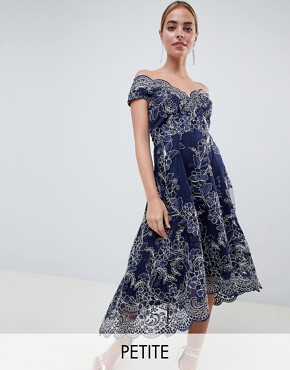 photo Lace Bardot Midi Dress by City Goddess Petite, color Navy - Image 1