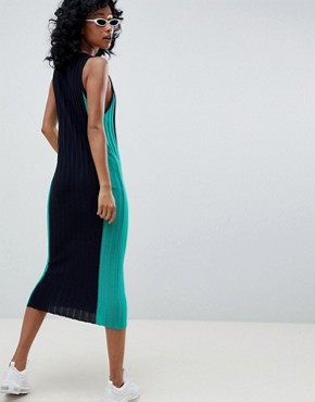 photo Sleeveless Midi Dress in Blocked Knit by ASOS DESIGN, color Multi - Image 2