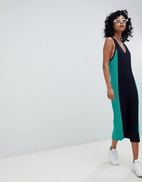 photo Sleeveless Midi Dress in Blocked Knit by ASOS DESIGN, color Multi - Image 4