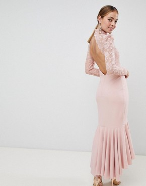 photo Long Sleeve High Neck Fishtail Maxi Dress with Lace Detail by City Goddess Petite, color Blush Pink - Image 2
