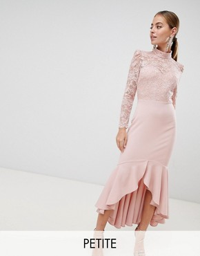 photo Long Sleeve High Neck Fishtail Maxi Dress with Lace Detail by City Goddess Petite, color Blush Pink - Image 1