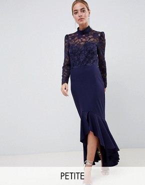 photo Long Sleeve High Neck Fishtail Maxi Dress with Lace Detail by City Goddess Petite, color Navy - Image 1