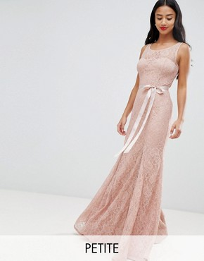 photo Lace Maxi Dress with Satin Belt by City Goddess Petite, color Blush Pink - Image 1