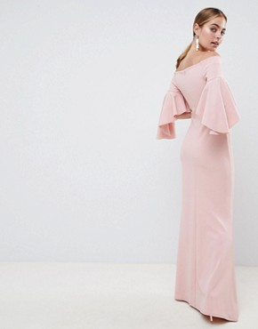 photo Long Sleeve Bardot Maxi Dress by City Goddess Petite, color Blush Pink - Image 2