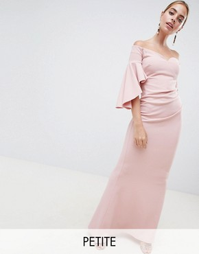 photo Long Sleeve Bardot Maxi Dress by City Goddess Petite, color Blush Pink - Image 1