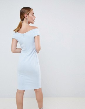 photo Bardot Pencil Midi Dress by City Goddess Petite, color Pale Blue - Image 2