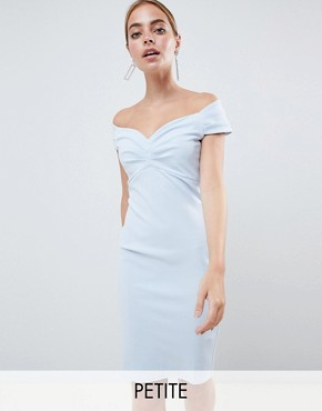 photo Bardot Pencil Midi Dress by City Goddess Petite, color Pale Blue - Image 1