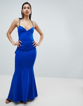 photo Waterfall Back Maxi Dress by City Goddess, color Cobalt Blue - Image 2