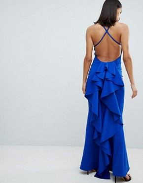 photo Waterfall Back Maxi Dress by City Goddess, color Cobalt Blue - Image 1