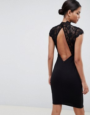 photo Open Back Midi Dress with Lace Insert by City Goddess, color Black - Image 2