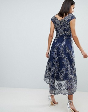 photo Lace Bardot Midi Dress by City Goddess, color Navy - Image 2