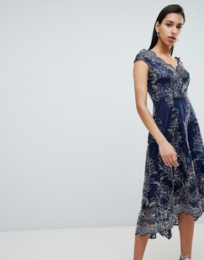photo Lace Bardot Midi Dress by City Goddess, color Navy - Image 1