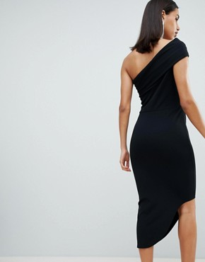 photo One Shoulder Dress with Asymetric Hem by City Goddess, color Black - Image 2