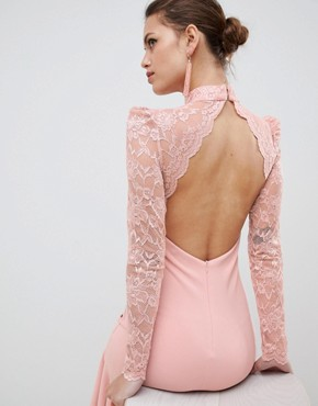 photo Long Sleeve High Neck Fishtail Maxi Dress with Lace Detail by City Goddess, color Blush Pink - Image 2