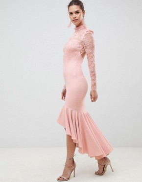 photo Long Sleeve High Neck Fishtail Maxi Dress with Lace Detail by City Goddess, color Blush Pink - Image 1