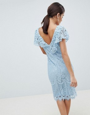 photo Lace Pencil Dress with Frill Overlay by City Goddess, color  - Image 2
