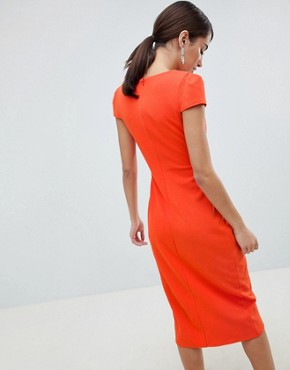 photo Bardot Wrap Over Pencil Midi Dress by City Goddess, color Orange - Image 2