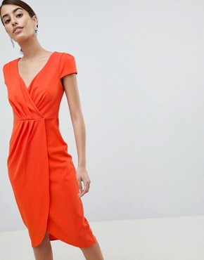 photo Bardot Wrap Over Pencil Midi Dress by City Goddess, color Orange - Image 1