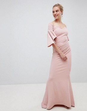 photo Long Sleeve Bardot Maxi Dress by City Goddess, color Blush Pink - Image 1
