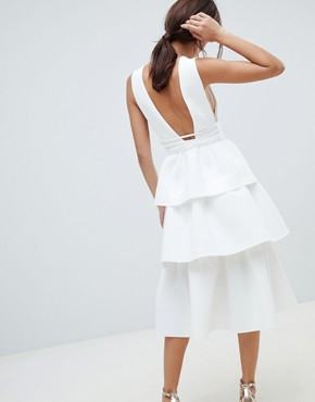 photo Deep Plunge Tiered Midi Prom Dress by ASOS DESIGN, color Ivory - Image 2