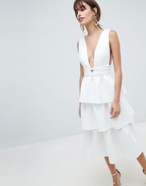 photo Deep Plunge Tiered Midi Prom Dress by ASOS DESIGN, color Ivory - Image 1