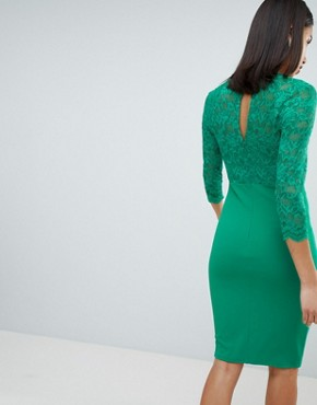 photo 3/4 Sleeve Lace Midi Dress by City Goddess, color Green - Image 2