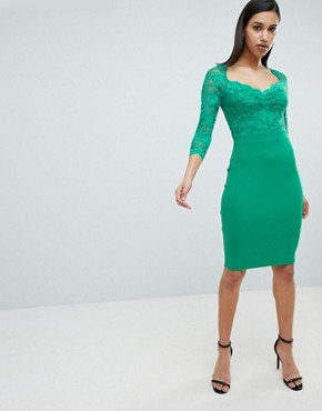 photo 3/4 Sleeve Lace Midi Dress by City Goddess, color Green - Image 4