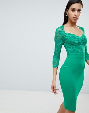 photo 3/4 Sleeve Lace Midi Dress by City Goddess, color Green - Image 1