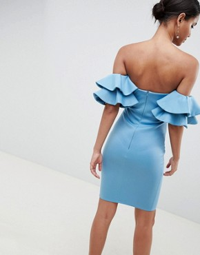 photo Frill Bardot Midi Dress by City Goddess, color  - Image 2