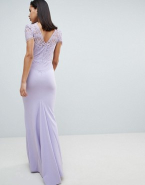 photo Lace Belted Fishtail Maxi Dress by City Goddess, color Lilac - Image 2
